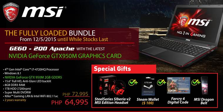 MSI GE60 Gets 12% Cut-Off w/ Starter Bundle Pack