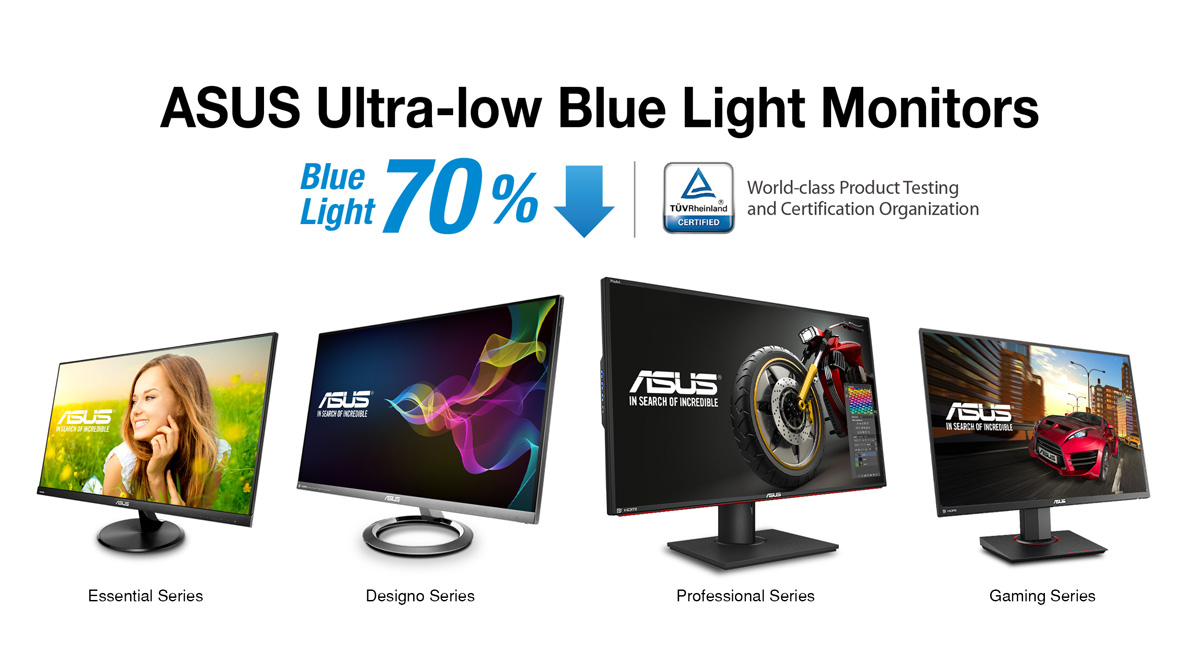 ASUS Ultra-Low Blue Light Monitors Receives TÜV Certifications
