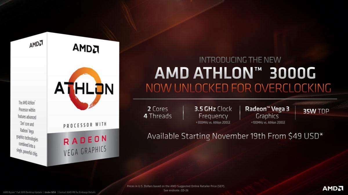 AMD Announces Unlocked Athlon 3000G at $50 USD