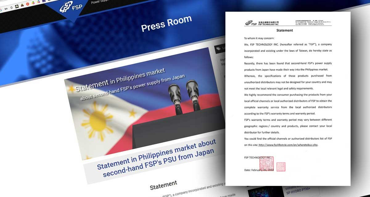 FSP Issues Statement Surrounding Second Hand PSU From Japan