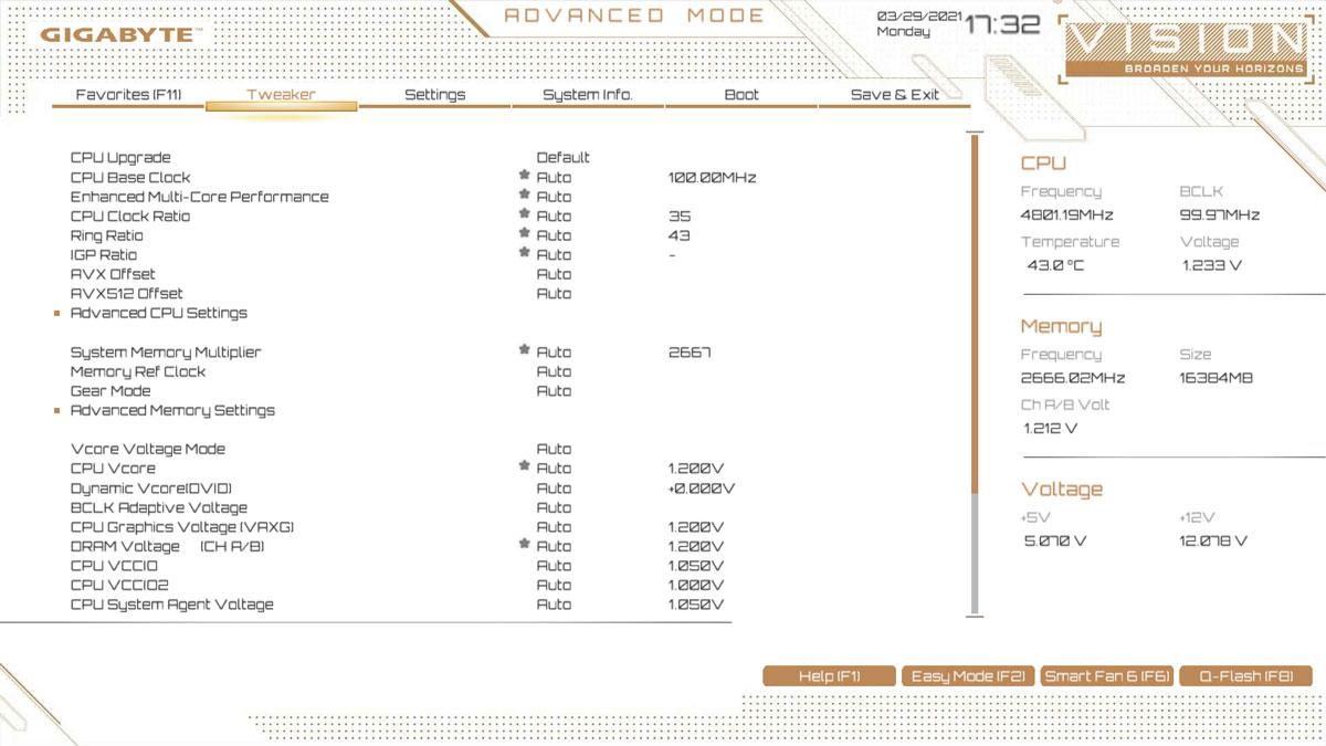 GIGABYTE Z590I Vision D UEFI 2