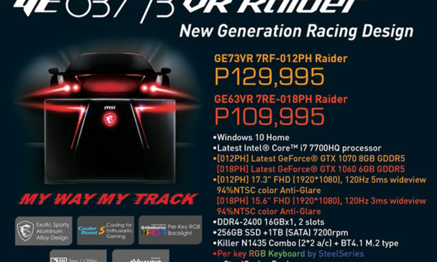 MSI Announces theGE63VR and GE73VR Raider