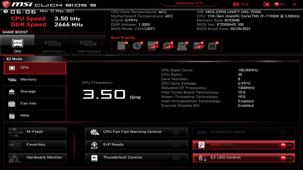 MSI MEG Z590I Unify BIOS UEFI 2