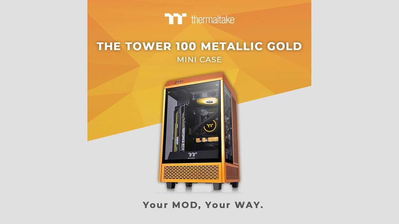 Thermaltake Updates Tower 100 Mini in Metallic Gold